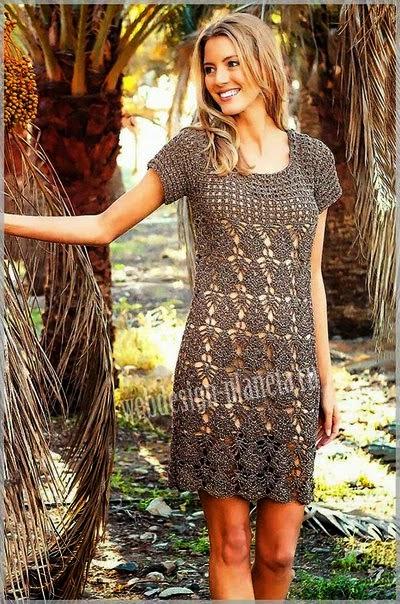 Vestido de dama tejido al crochet