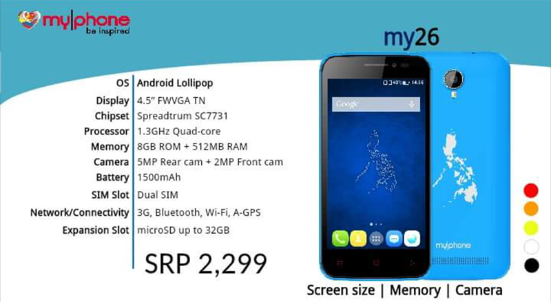 MyPhone My26 Spotted Too, Low Cost Entry Level Android Device With 8 GB ROM Priced At 2299 Pesos!