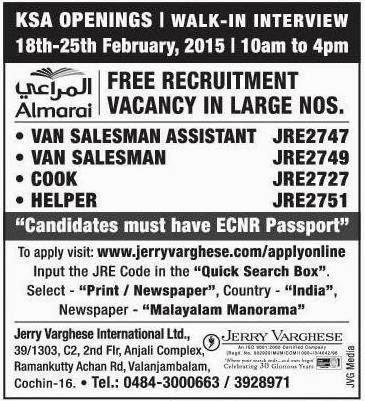 Gulf Jobs And Middle East Jobs Almarai Recruitment In Kerala