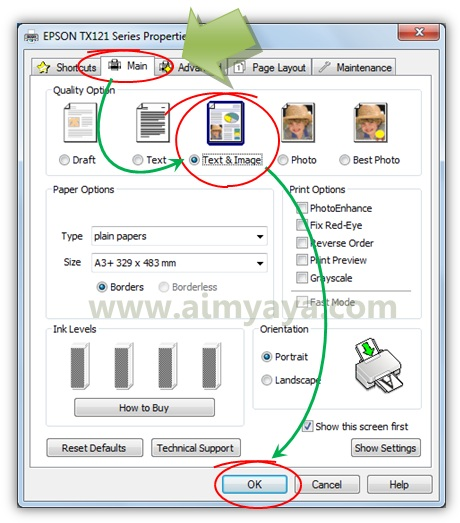 Gambar: Merubah kualitas cetak printer menjadi lebih tinggi (Text & Image)