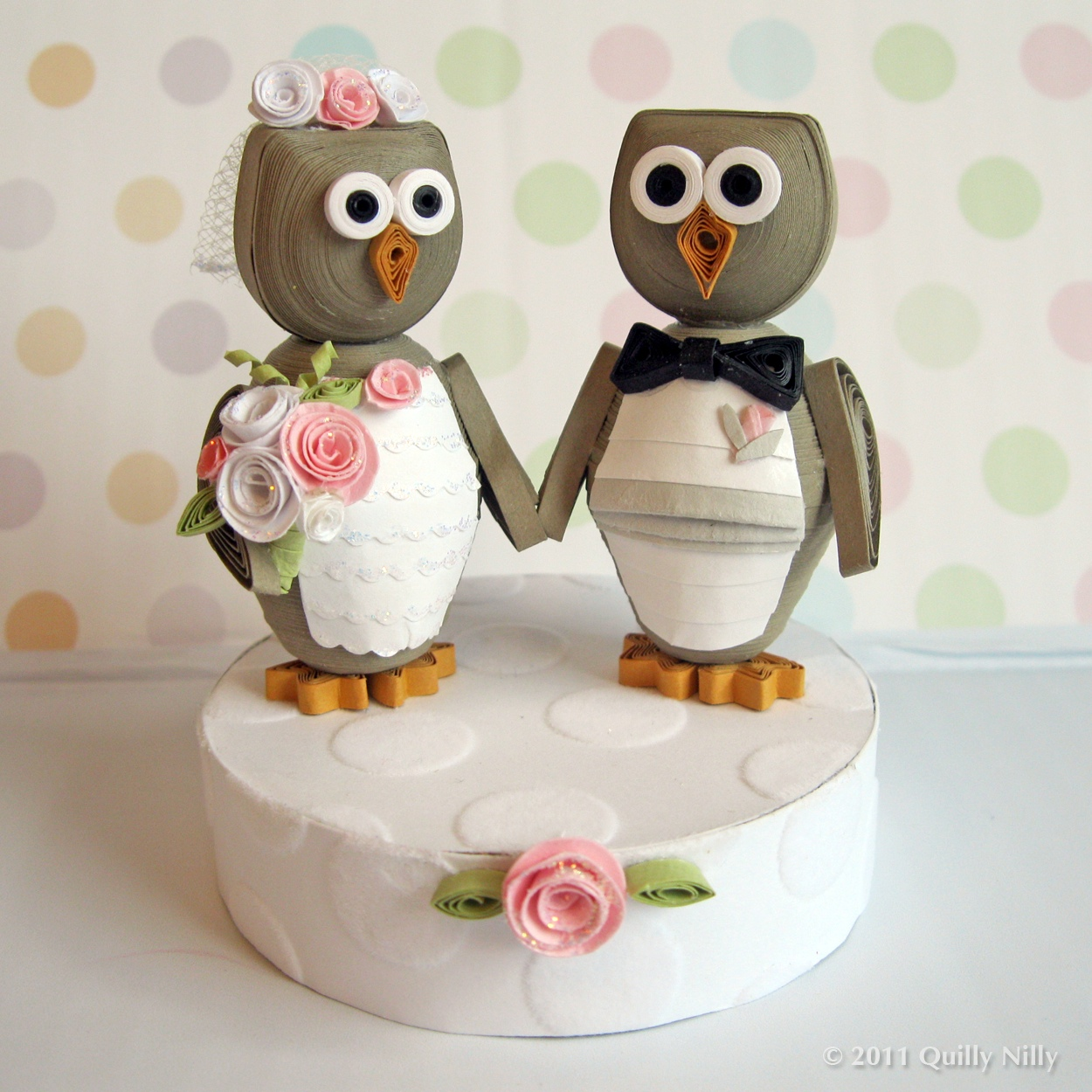 Quilly Nilly Owl Love You Forever Wedding Cake Topper