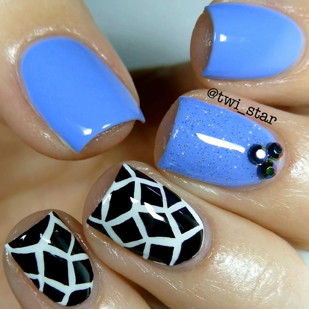 China Glaze Boho Blues Fairy Dust White on White Liquid Leather swatch