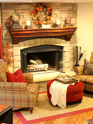 corner stone fireplace with plaid chair - www.goldenboysandme.com