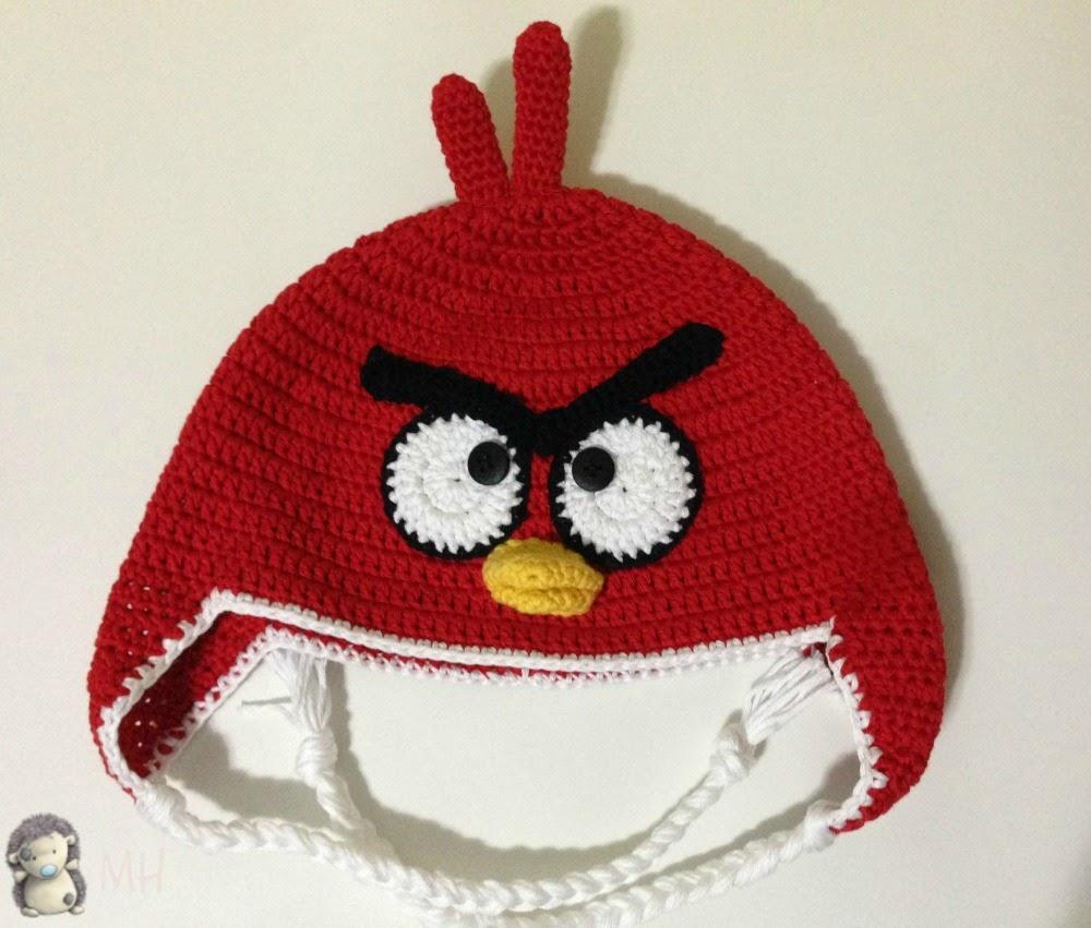 DIY con y para niños: Gorro a Crochet Angry Bird Rojo, patrón