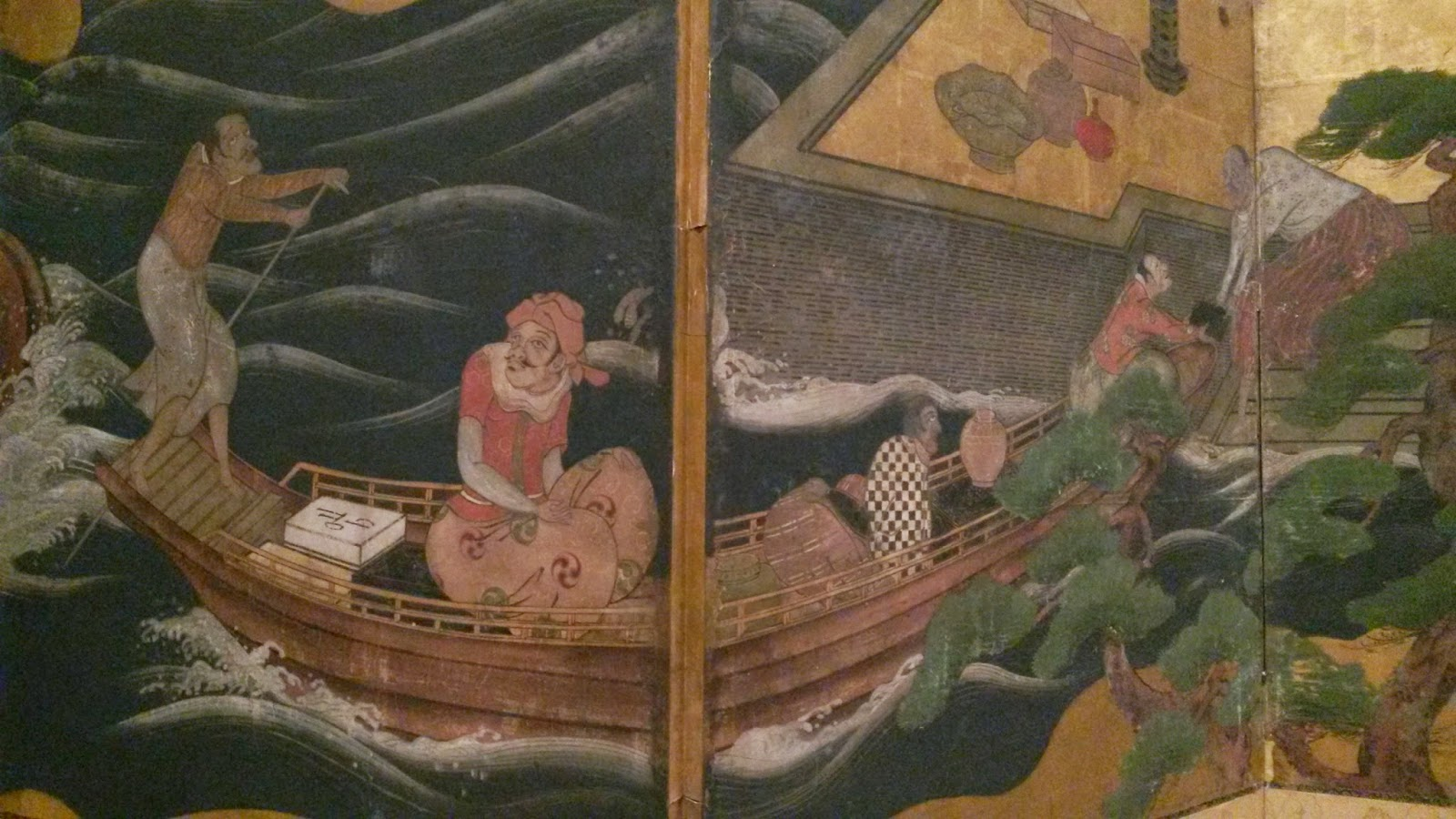detail of Japanese Edo screen showing small boat