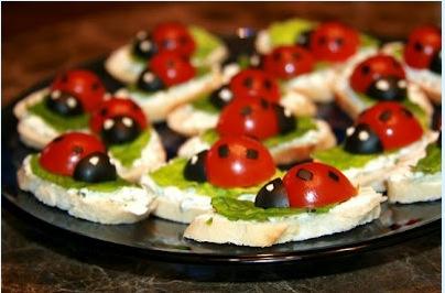 Ladybug snack with tomato & olive