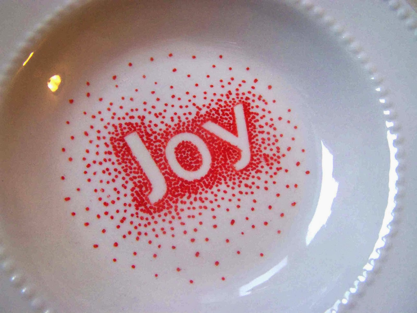 I picked up some alphabet stickers at the dollar store and they were really fun to use. Place the stickers where you want the start adding dots close ... & Made by Me. Shared with you.: Sharpie Decorated Plates and Mugs