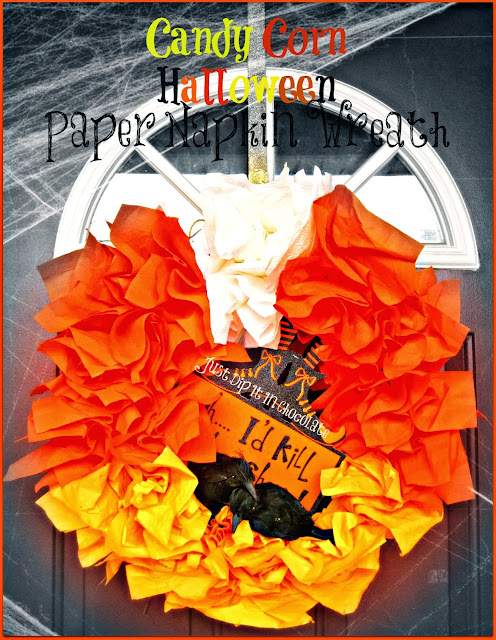 DIY Candy Corn Halloween Paper Napkin Wreath 15 minutes of your time and you will have this fun and easy to make #Halloween wreath! #halloweendecor #dollarstorecrafts