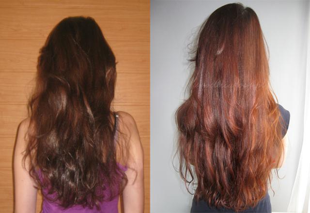włosy po roku zapuszczania i pielęgnacji przed i po