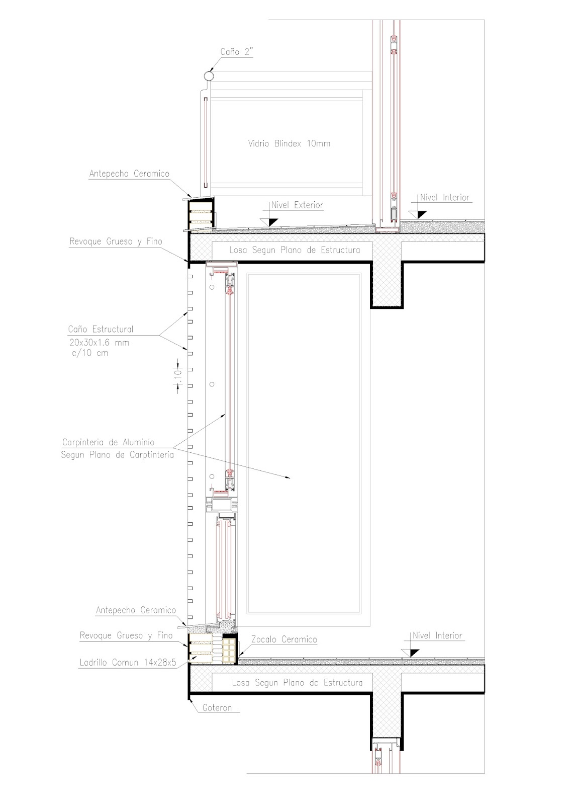C tedra de materiales y t cnicas iii cortes constructivos - Detalle carpinteria aluminio ...