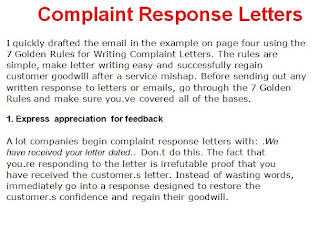 response complaint letter example