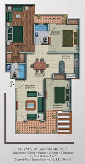 Oxford Square :: Floor Plans,Super Area 180 Sq. Yd. :-First Floor 3 Bedrooms + Dining + Kitchen + 2 Toilets + 2 Balconies Super Area: 1463 Sq. Ft.