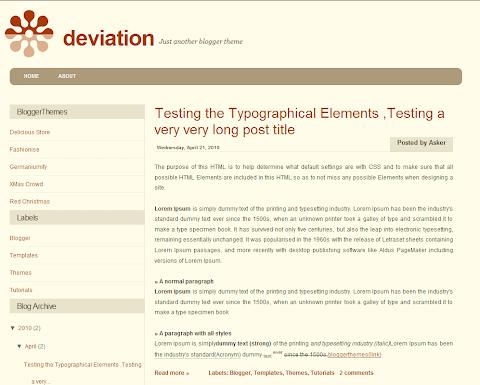 Deviation Blogger Theme