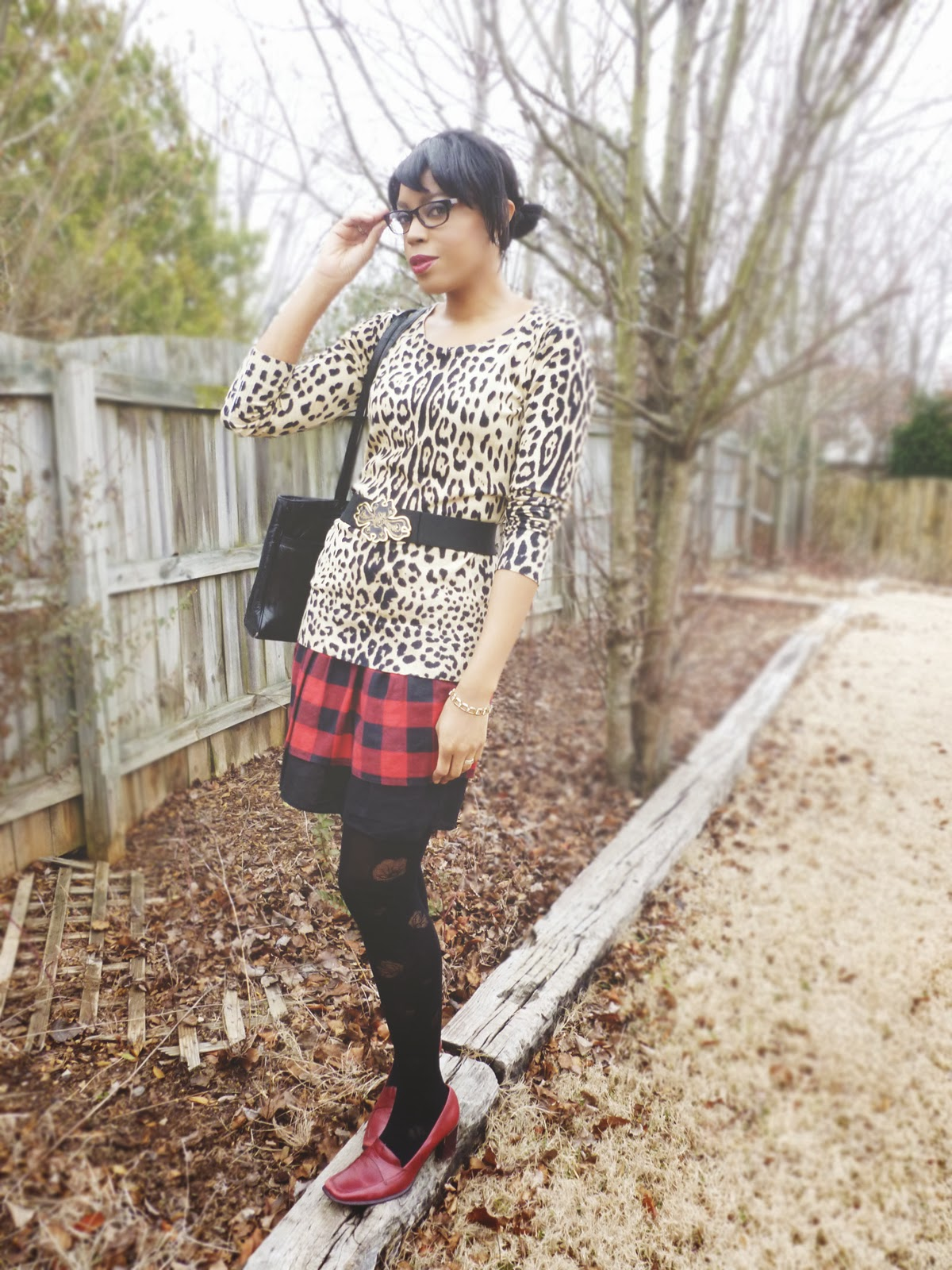Winter fashion tartan how to wear leopard