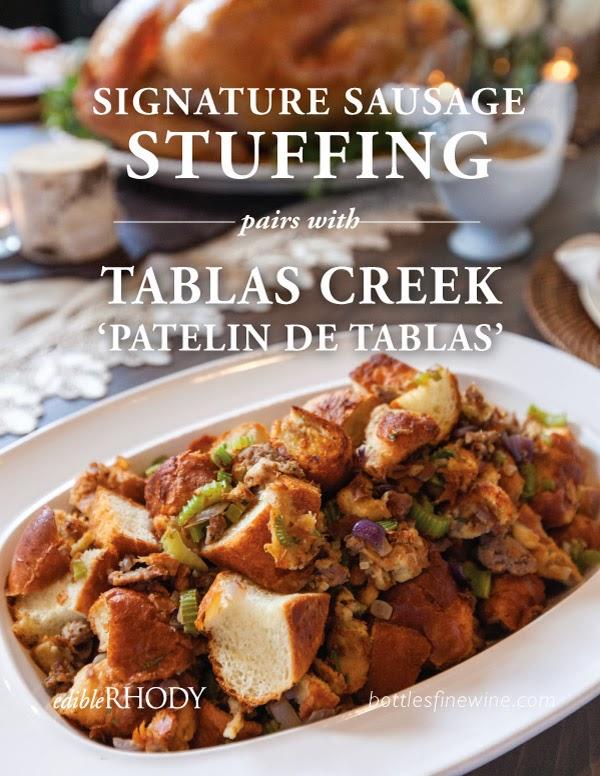 sausage stuffing recipe  & thanksgiving food & red wine pairing