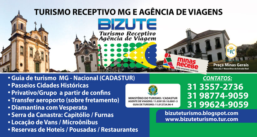 RECEPTIVO TURÍSTICO MG - www.bizuteturismo.tur.br - www.bizuteturismo.com.br