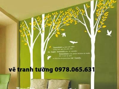 Vẽ tranh tường phòng khách hiện đại