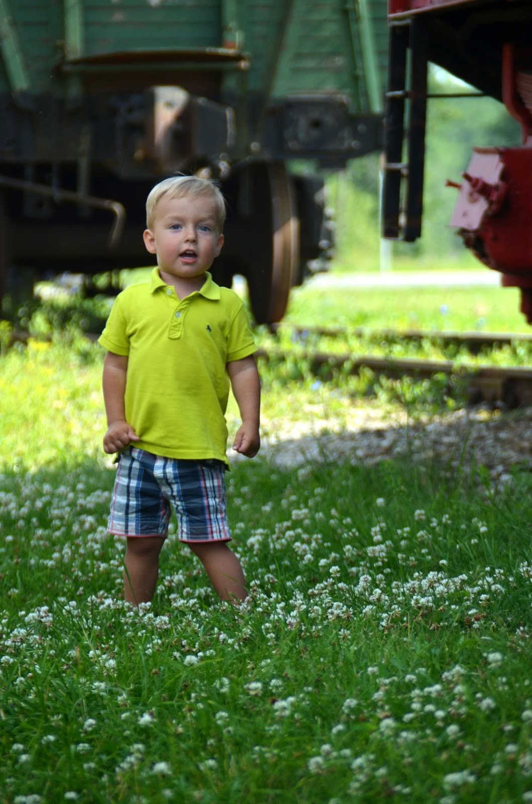 blond toddler lime green polo