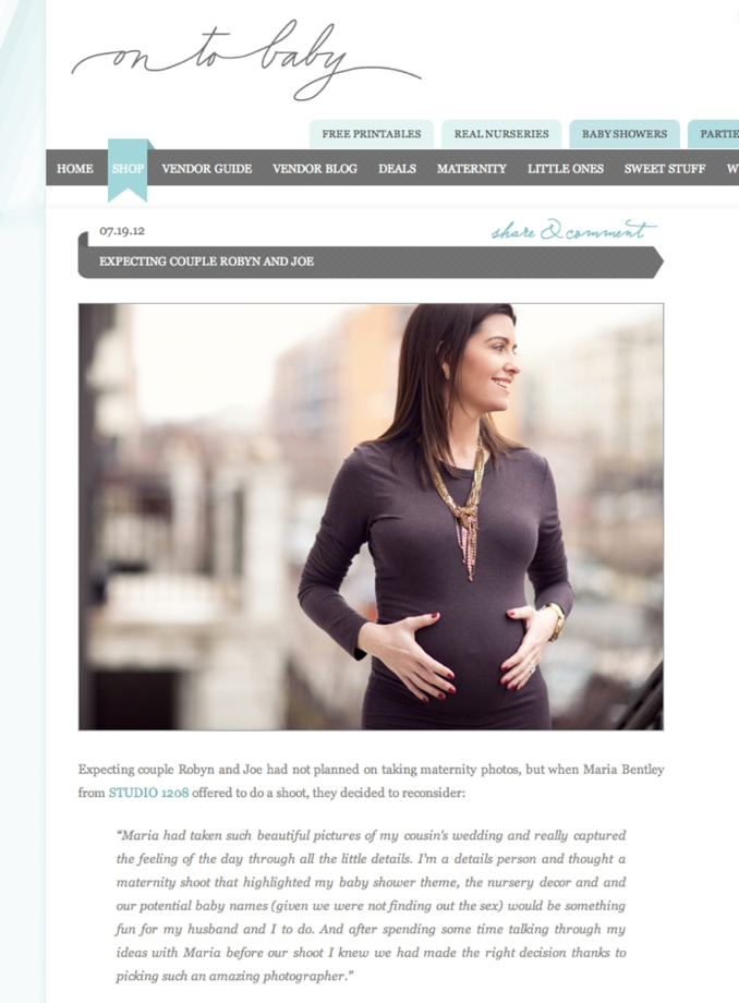 STUDIO 1208 feature on OnTo Baby for chic NYC maternity shoot