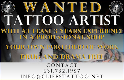Reynolds 2 2 wanted experienced tattoo artist for Cliffs tattoo long island