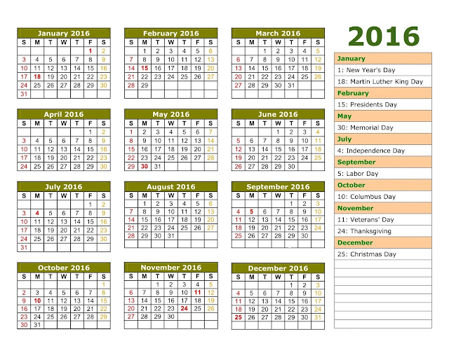 2016 Calendar with Holidays Images, 2016 Calendar Template with Holidays, 2016 calendar with holidays download, 2016 calendar with canadian holidays,  2016 Calendar With Holidays Word Excel PDF Free