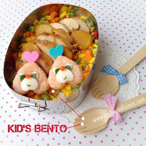 創意便當】愛心飯糰雞肉便當 - 小鐵創意料理