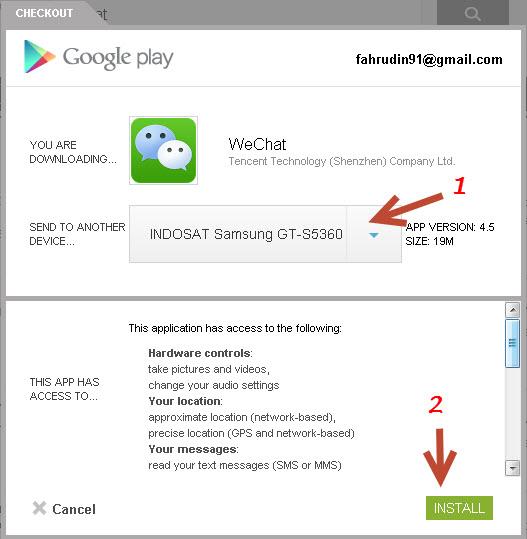 proses download aplikasi wechat segera di mulai dan tunggu sampai ...