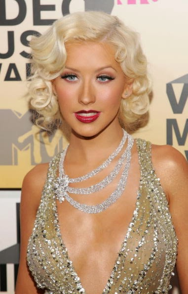 Heavenly Vintage Wedding Blog, hair to complement a 1930s wedding dress - Christina Aguilera