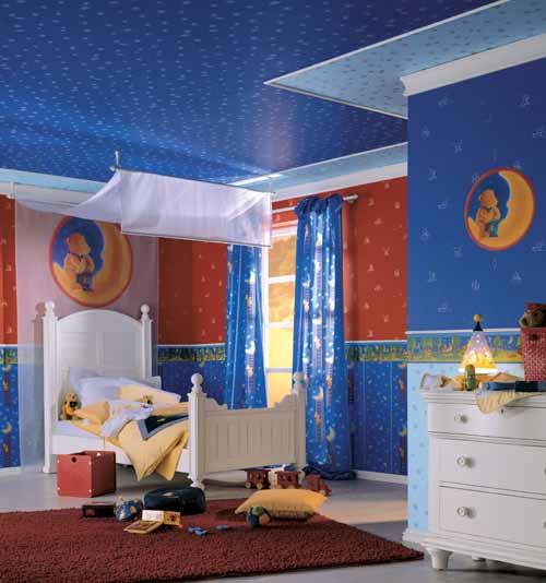 Dormitorio color azul para ni os ideas para decorar for Dormitorio granate