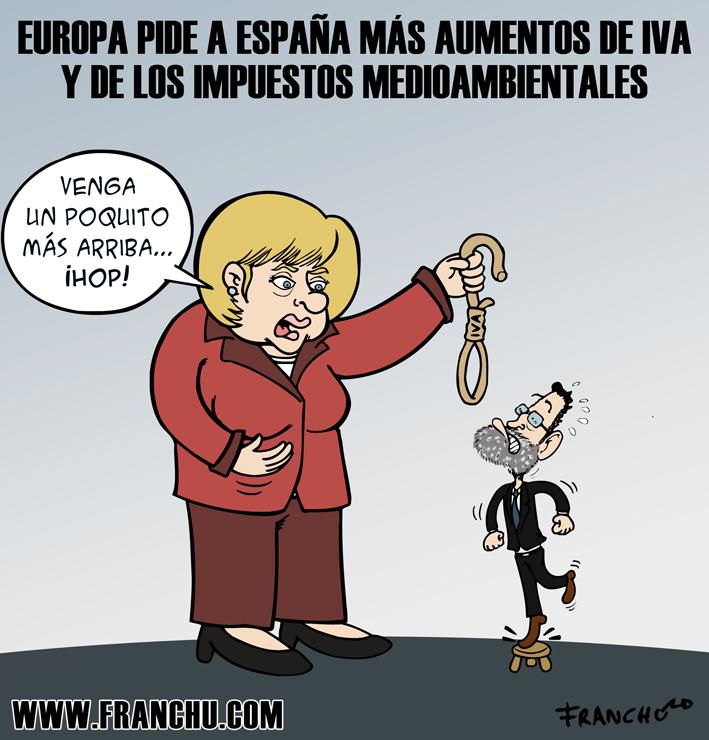 Viñeta de humor gráfico sobre la crisis y la subida de los impuestos en España, hecha por el dibujante Franchu Llopis