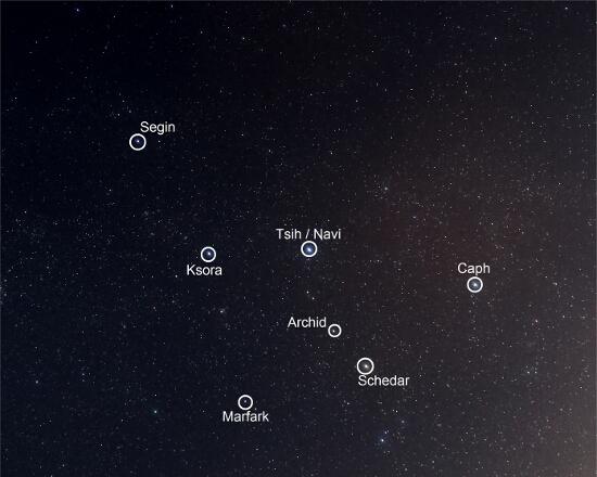 Constelacion de Casiopea - Estrellas - El cielo de Rasal