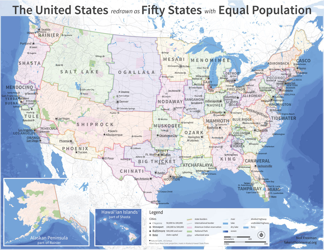 The U.S. redrawn as fifty States with equal population