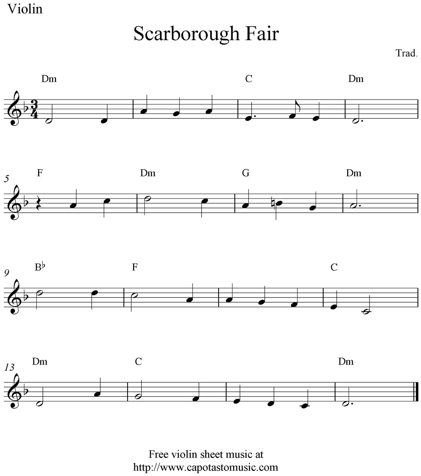 Free Easy Piano Sheet Music Score Scarborough Fair: Scarborough Fair, Free Violin Sheet Music Notes