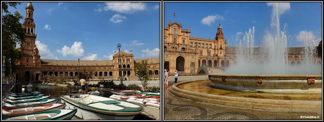 Séville Plaza España place de l'Espagne Parlement Andalou fontaine et rivière
