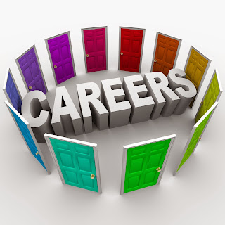 The word career surrounded by many different colored doors.