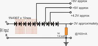 Multiple Voltages 3.3V, 5V from 12V without ICs or inductors