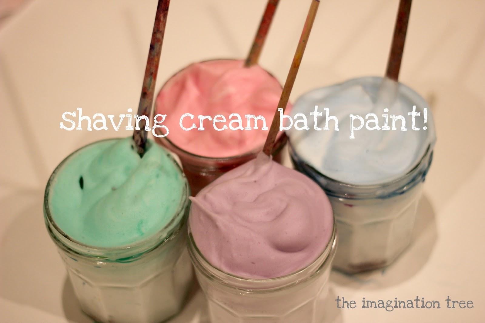 Shaving cream bath paint the imagination tree for Shaving cream paint