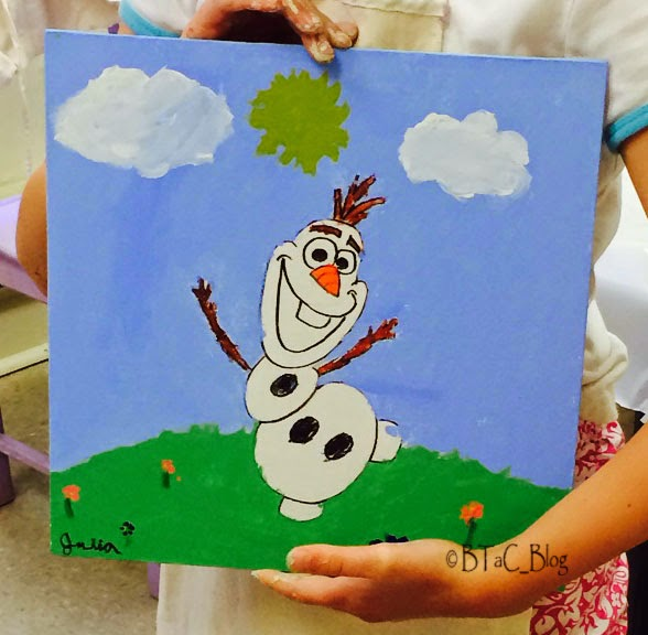Kid's Olaf painting.