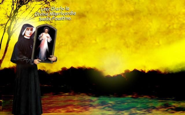 cuadro de jesus en brazos de santa faustina