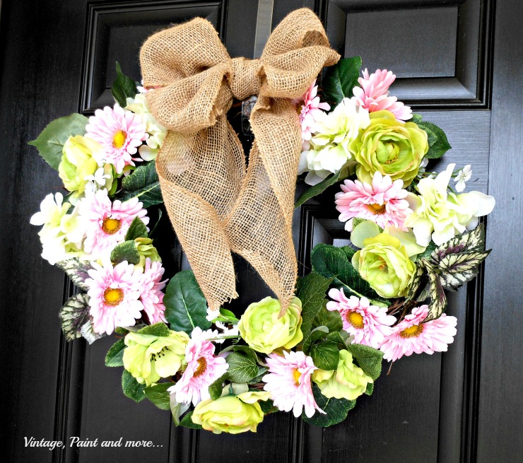 Vintage, Paint and more... DIY spring wreath with faux flowers and burlap ribbon