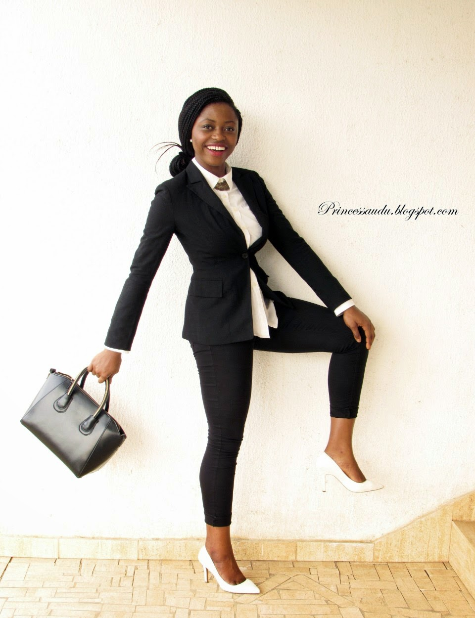 Monchrome, black and white, classic, white pumps, black bag, black blazer, wardrobe basics, essentials