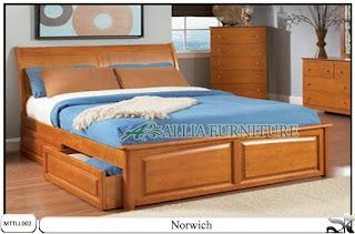 Tempat tidur laci minimalis jati norwich