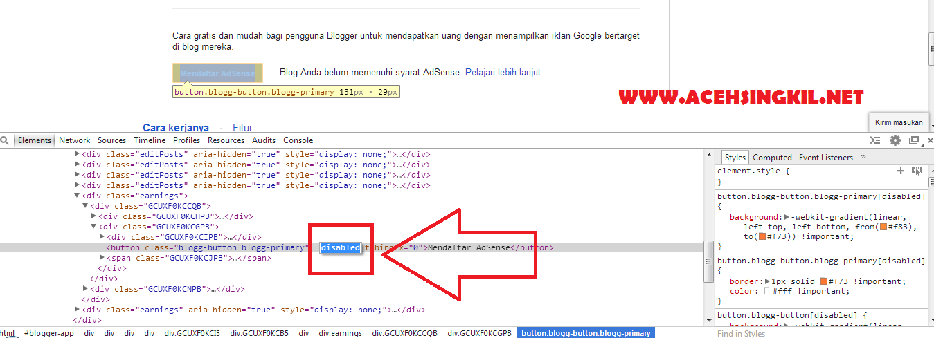 Cara Mengatasi Tombol Pendaftaran Google Adsense di Blog Tidak Muncul/Klik