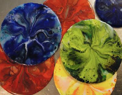 pot melt fused glass finished disk round rainbow color flutterbyfoto flutterbybutterfly