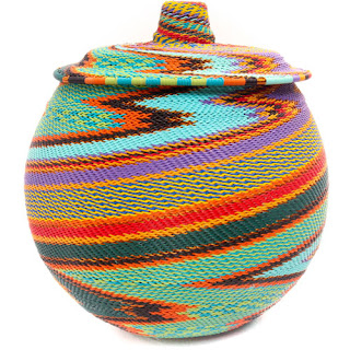 Colorful woven wire lidded pot
