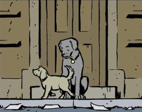 A single comics panel. Pizza Dog sits before a brown wood door. A small, blonde dog trots past him, nose and tail raised. Pizza Dog looks down at her as she passes.