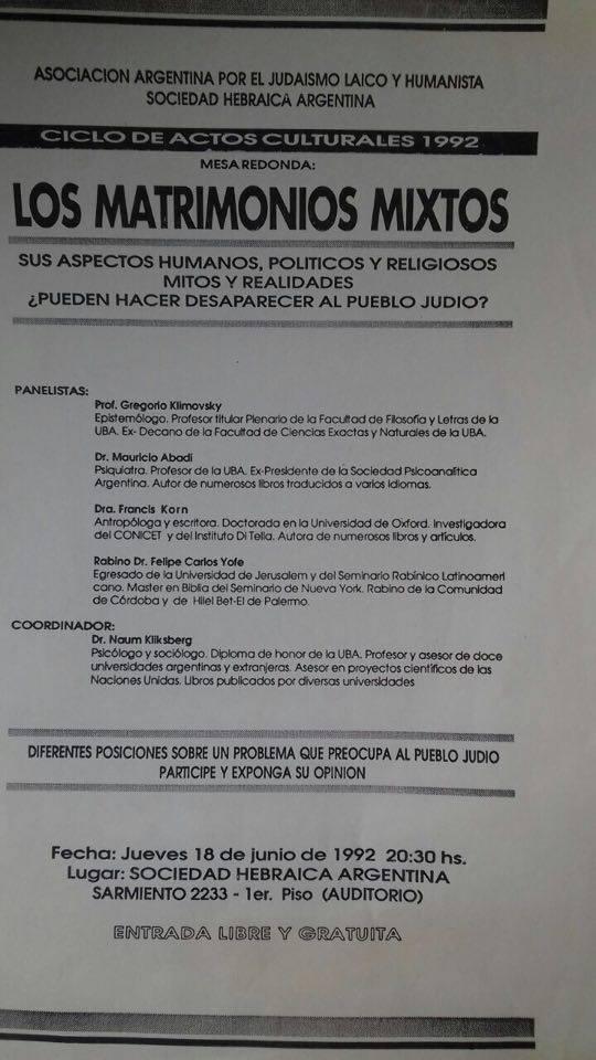 56 - Naum Kliksberg organizó el acto más importante realizado en argentina para tratar el tema de