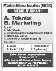 Lowongan Kerja PT. ASTALIA MIILLENIA EDUCATINDO OKTOBER 2015 di Bandar Lampung, Lowongan Kerja PT. ASTALIA MIILLENIA EDUCATINDO OKTOBER 2015 di Metro, Lowongan Kerja PT. ASTALIA MIILLENIA EDUCATINDO OKTOBER 2015 di Bandar Jaya, Lowongan Kerja PT. ASTALIA MIILLENIA EDUCATINDO OKTOBER 2015 di Liwa, Lowongan Kerja PT. ASTALIA MIILLENIA EDUCATINDO OKTOBER 2015 di Kalianda, Lowongan Kerja PT. ASTALIA MIILLENIA EDUCATINDO OKTOBER 2015 di Tulang Bawang, Lowongan Kerja PT. ASTALIA MIILLENIA EDUCATINDO OKTOBER 2015 di Pringsewu, Lowongan Kerja PT. ASTALIA MIILLENIA EDUCATINDO OKTOBER 2015 di Kota bumi, Lowongan Kerja PT. ASTALIA MIILLENIA EDUCATINDO OKTOBER 2015 di Krui, Lowongan Kerja PT. ASTALIA MIILLENIA EDUCATINDO OKTOBER 2015 di Natar, Lowongan Kerja PT. ASTALIA MIILLENIA EDUCATINDO OKTOBER 2015 di Blambangan Umpu, Lowongan Kerja PT. ASTALIA MIILLENIA EDUCATINDO OKTOBER 2015 di Panaragan Jaya, Lowongan Kerja PT. ASTALIA MIILLENIA EDUCATINDO OKTOBER 2015 di Sukadana, Lowongan Kerja PT. ASTALIA MIILLENIA EDUCATINDO OKTOBER 2015 di Gunung Sugih, Lowongan Kerja PT. ASTALIA MIILLENIA EDUCATINDO OKTOBER 2015 di Wiralaga Mulya, Lowongan Kerja PT. ASTALIA MIILLENIA EDUCATINDO OKTOBER 2015 di Gedong Tataan, Lowongan Kerja PT. ASTALIA MIILLENIA EDUCATINDO OKTOBER 2015 di Surabaya, Lowongan Kerja PT. ASTALIA MIILLENIA EDUCATINDO OKTOBER 2015 di Bandung, Lowongan Kerja PT. ASTALIA MIILLENIA EDUCATINDO OKTOBER 2015 di Bekasi, Lowongan Kerja PT. ASTALIA MIILLENIA EDUCATINDO OKTOBER 2015 di Medan, Lowongan Kerja PT. ASTALIA MIILLENIA EDUCATINDO OKTOBER 2015 di Tangerang, Lowongan Kerja PT. ASTALIA MIILLENIA EDUCATINDO OKTOBER 2015 di Depok, Lowongan Kerja PT. ASTALIA MIILLENIA EDUCATINDO OKTOBER 2015 di Semarang, Lowongan Kerja PT. ASTALIA MIILLENIA EDUCATINDO OKTOBER 2015 di Palembang, Lowongan Kerja PT. ASTALIA MIILLENIA EDUCATINDO OKTOBER 2015 di Makassar, Lowongan Kerja PT. ASTALIA MIILLENIA EDUCATINDO OKTOBER 2015 di Bogor, Lowongan Kerja PT. ASTALIA MIILLENIA EDUCATINDO OKTOBER 