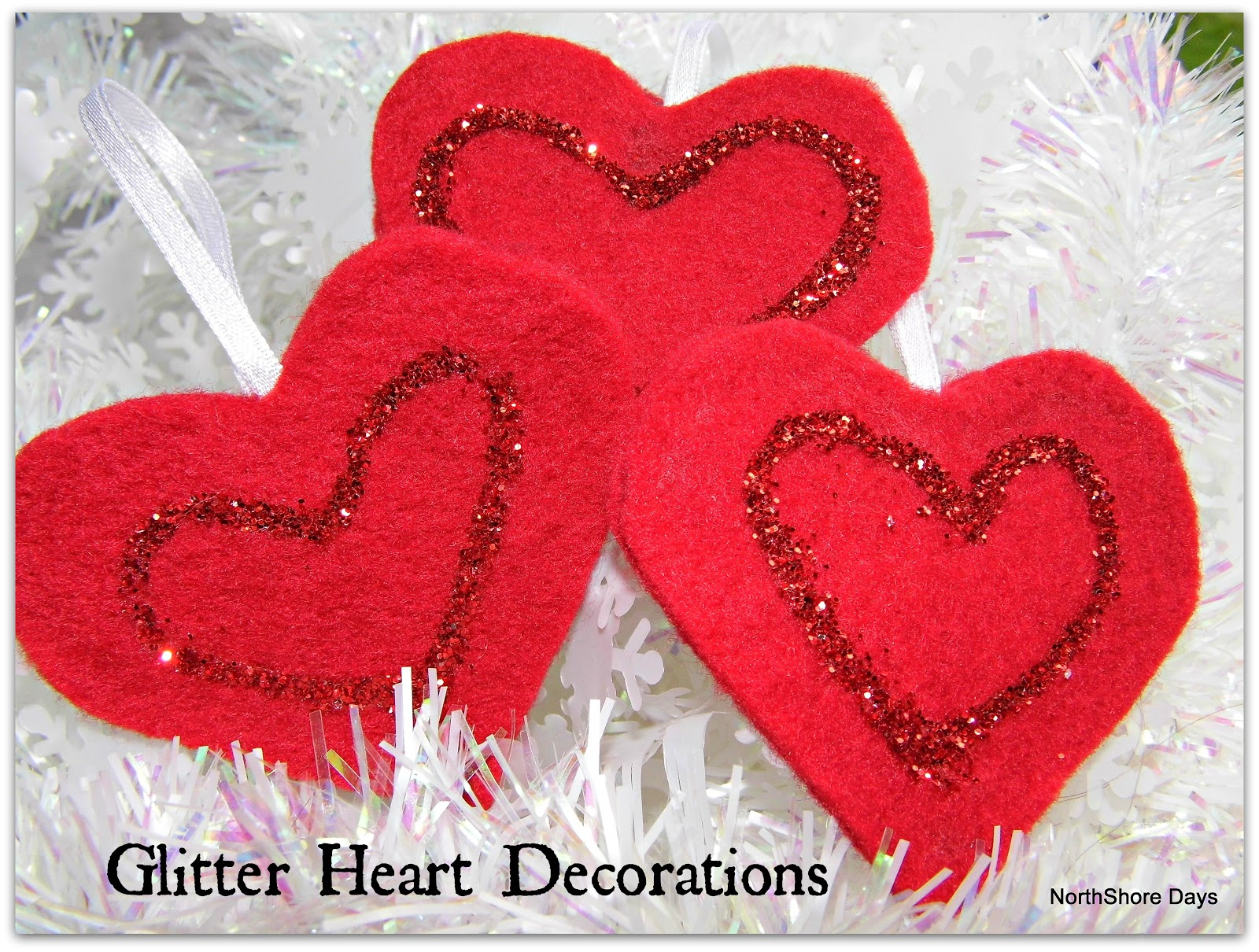 Northshore days glitter heart decorations for Heart decoration ideas