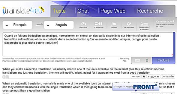 traduction en ligne sur plusieurs site de traduction automatique